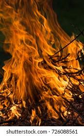 closeup of flames