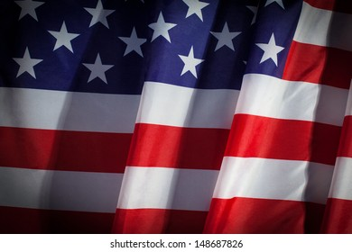 Closeup of flapping flag USA with wave