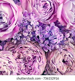 Close-up floral composition with a pink roses and lilacs.