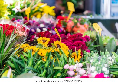 Closeup of florist flower shop many bouquets plants on display floral arrangements in Campo de fiori in Rome, Italy with sunflowers
