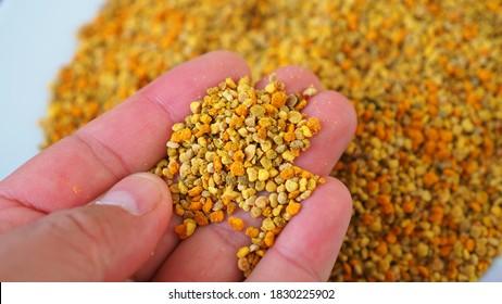 a lot of close-up flower pollen,fresh bee pollen, natural vitamin source, empowering bee pollen,