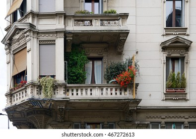 closeup of a flowered balcony in the italian city Milan