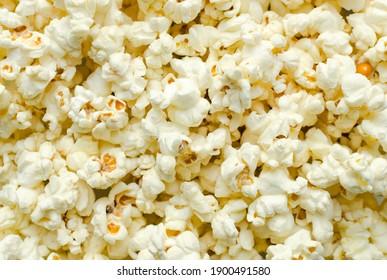 closeup fluffy yellow crisp fresh popcorn background