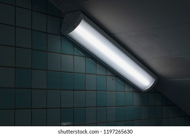 Closeup of a fluorescent light in a subway tunnel. Sweden