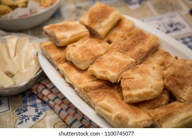 close-up of focaccia food cut into pieces