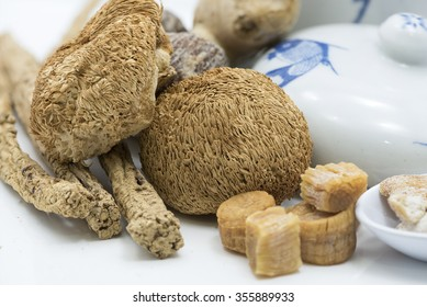 Closeup focus on dried hericium, an ingredient used in Chinese herbal soup for health benefit. The fleshy mushroom resemble a icicle-like spines, grow on dead or dying wood and tasted like lobster.