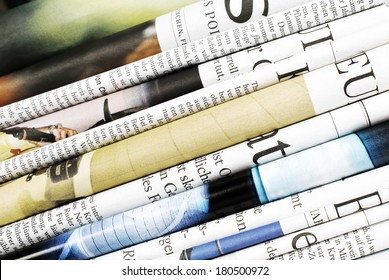 Closeup of folded newspapers
