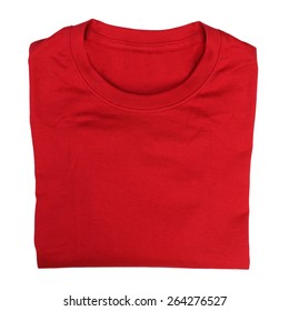 Closeup of folded red t-shirt isolated on white background. Fashion concept