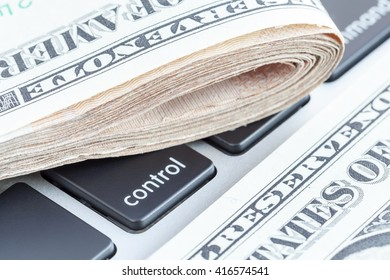 Close-up folded of US dollars banknotes on control sign, Business concept.