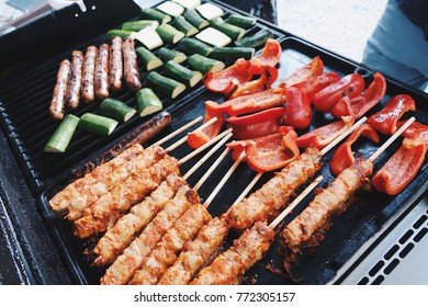 Closeup of food grilling on barbecue