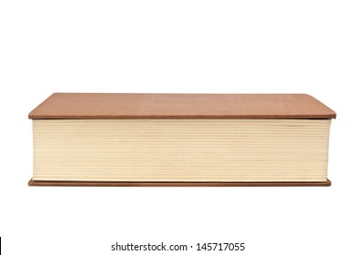 Closeup of the fore edge of a book isolated on white background
