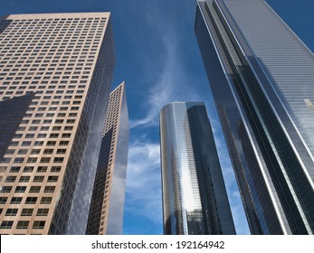 Closeup of four skyscrapers in Bunker Hill