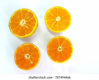 closeup four slice of fresh orange isolated on white background. with clipping path