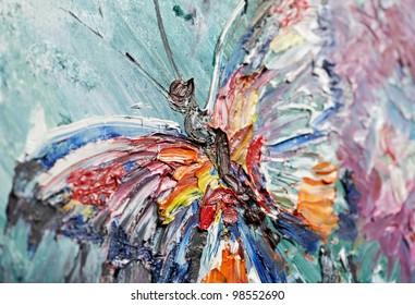 油画蝴蝶图像特写片段