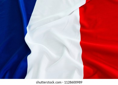 Closeup of France waving flag