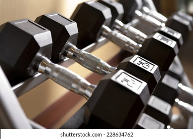 Closeup of Free Weights in Gym