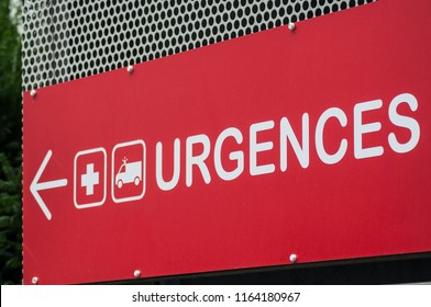 closeup of french hospital emergency entry sign with text in french ( urgences)