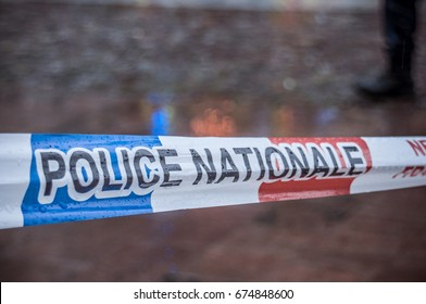 closeup of french national police security ribbon