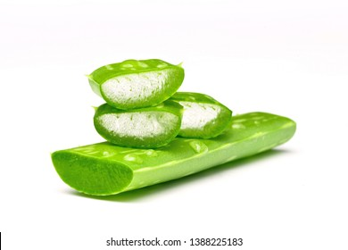 Close-up Fresh Aloe vera sliced with water drops isolated on white background.