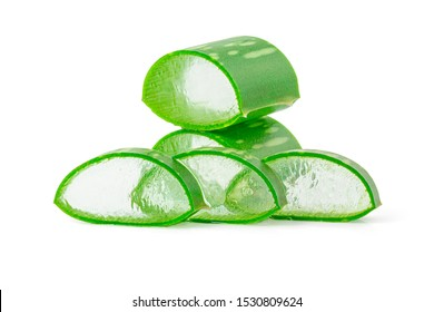 Close-up Fresh Aloe vera sliced and water drops isolated on white background with clipping path