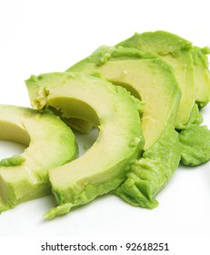 closeup of fresh avocado slices