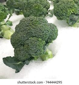 closeup fresh broccoli,background
