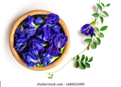 Closeup fresh butterfly pea flower or blue pea, bluebellvine , cordofan pea, clitoria ternatea with green leaf in wooden bowl isolated on white background. Top view. Flat lay.