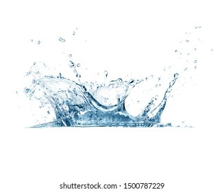 Closeup of fresh and clear splash of water isolated on white background