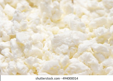 Close-up of fresh cottage cheese. Shallow DOF.