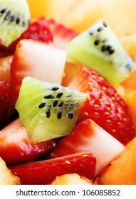 Close-up of Fresh Fruit Salad - Shallow DOF - Focus on front Kiwi