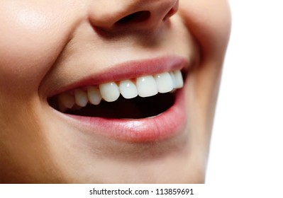 Close-up of fresh girl with healthy white teeth smiling