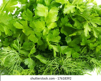 closeup of fresh green parsley and dill