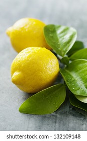 closeup of fresh lemons with droplets
