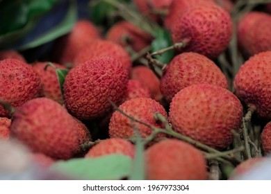 Closeup fresh Lychee fruit (Litchi chinensis Sonn), Thai fruit Linchee  background. - Shutterstock ID 1967973304