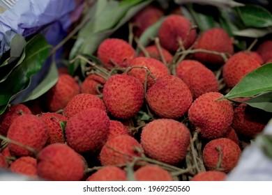 Closeup fresh Lychee fruit (Litchi chinensis Sonn), Thai fruit Linchee  background. - Shutterstock ID 1969250560