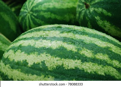 Close-up of fresh melons at the stall