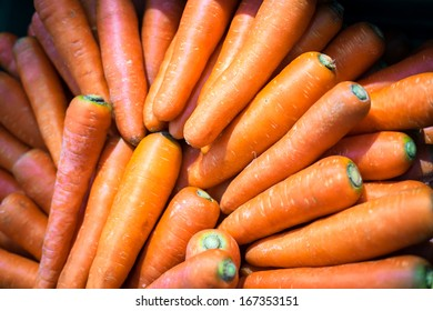Close-up of fresh nutritive carrots, source of vitamin A and beta carotene