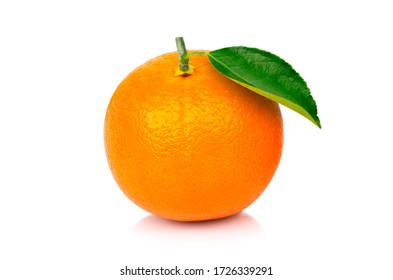 Closeup fresh organic orange fruit with green leaf isolated on white background with clipping path.