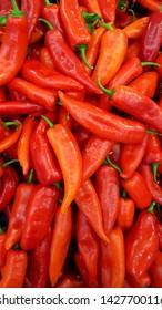closeup of fresh organically grown vivid red horn peppers mersin Turkey