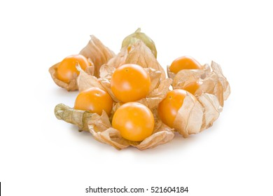Close-up fresh pichuberry (Cape Gooseberry), very delicious and healthy berry fruit, uchuva on white background with sunlight at the back