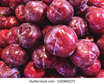 Close-up of fresh plum fruit and selective focus