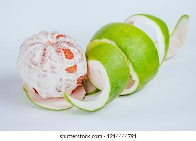 Close-Up Of Fresh Pomelo citrus fruit isolated on white background
