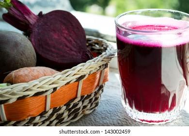 Closeup of Fresh Red Beet Juice