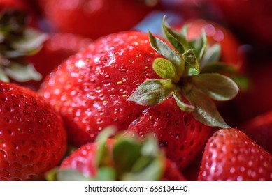 Closeup of fresh red strawberries in natural light