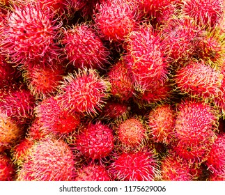 Close-up of fresh ripe Asian Indonesian rambutan tropical fruits produce for sale at a market in Chinatown, New York City, United States, USA