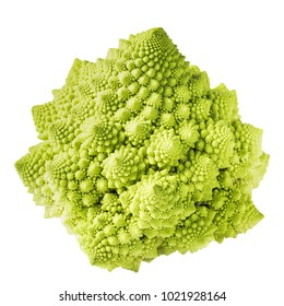 Closeup of fresh romanesco cauliflower isolated on white background, selective focus