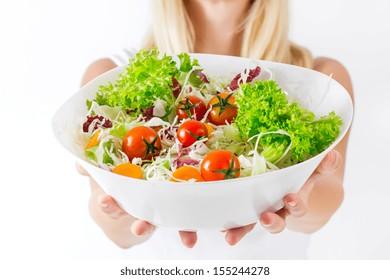 Closeup of fresh salad in a bowl.Healthy food.