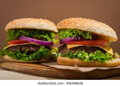 closeup of fresh tasty burgers