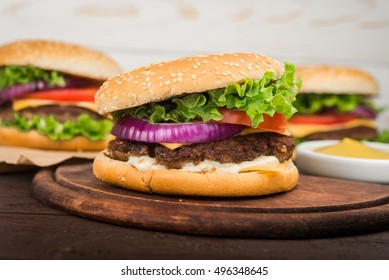 closeup of fresh tasty burgers