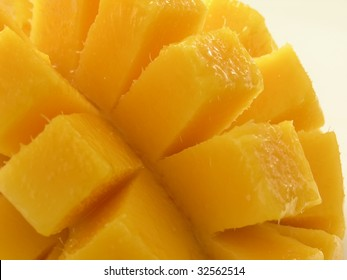 closeup of fresh,delicious, and juicy cubed and ready to eat mango